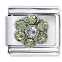 August Peridot Gold Czech Crystal Flower Birthstone Italian Charm