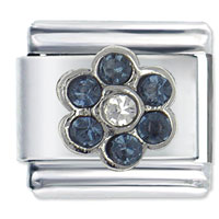 September Sapphire Color Birthstone Flower Italian Charms
