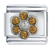 November Topaz Color Birthstone Flower Italian Charms