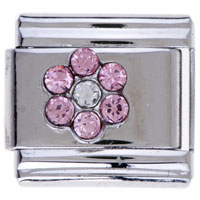 July Birthstone Pink Crystal Cz Flower Italian Charms Links