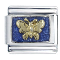 Butterfly On Blue Animal Italian Charms