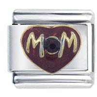 New Mom Enamel Red Heart Love 9 Mm Italian Charm Bracelet Link