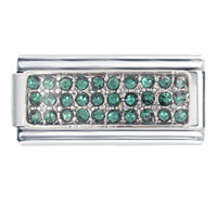 Silver May Emerald Color Birthstone Studded Italian Charms