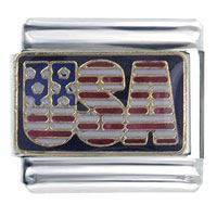Hot Enamel Usa Flags Italian Charm Stainless Steel Base 9 Mm Link