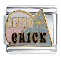 Retro Chick Words Phrases Italian Charms