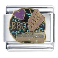 Heart Bbq Italian Charm Bracelet