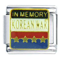 In Memory Korea Travel Flags Italian Charm Bracelet