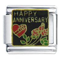 Happy Anniversary Rose Wedding Italian Charm Bracelet