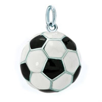 White Plated Vivid Football Sport Clasp Dangle European Beads Fit All Brands