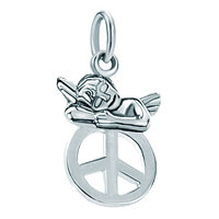 White Plated Peace Sign Cute Little Angel Love Clasp Dangle European Beads Fit All Brands