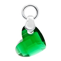 White Plated Emerald Green Diamond Accent Heart Love Clasp Dangle European Beads Fit All Brands