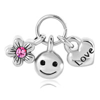 Heart Love Lock Cute Baby Smile And Rose Pink Cryatal Open Flower Fits Dangle European Beads Fit All Brands