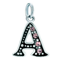 White Plated Rose Pink Letter Initial A Link Alphabet Dangle European Beads Fit All Brands