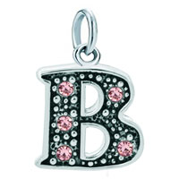 White Plated Rose Pink Diamond Accent Letter Initial B Link Alphabet For Pendant Necklace Dangle European Beads Fit All Brands