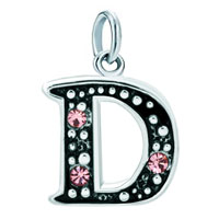 White Plated Rose Pink Diamond Accent Letter Initial D Link Alphabet For Pendant Necklace Dangle European Beads Fit All Brands
