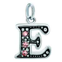 White Plated Rose Pink Diamond Accent Letter Initial E Link Alphabet For Pendant Necklace Dangle European Beads Fit All Brands