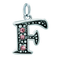 White Plated Rose Pink Diamond Accent Letter Initial F Link Alphabet For Pendant Necklace Dangle European Beads Fit All Brands