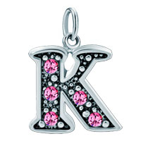 White Plated Rose Pink Diamond Accent Letter Initial K Link Alphabet For Pendant Necklace Dangle European Beads Fit All Brands