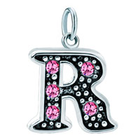 White Plated Rose Pink Diamond Accent Letter Initial R Link Alphabet For Pendant Necklace Dangle European Beads Fit All Brands