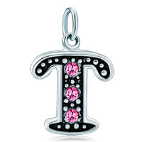 White Plated Rose Pink Diamond Accent Letter Initial T Link Alphabet For Pendant Necklace Dangle European Beads Fit All Brands