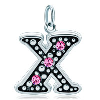 White Plated Rose Pink Diamond Accent Letter Initial X Link Alphabet For Pendant Necklace Dangle European Beads Fit All Brands