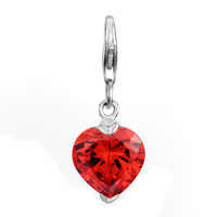 Decorative Red Heart Lobster Clasp Link For Necklace Dangle European Beads Fit All Brands