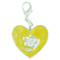 Heart Flower Yellow Link Dangle European Beads Fit All Brands