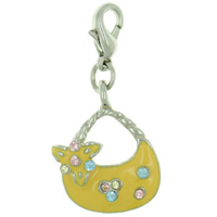 Yellow Purse Link Dangle European Beads Fit All Brands