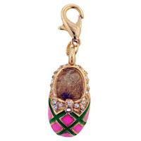 Rhinestone Slipper Link Dangle European Beads Fit All Brands