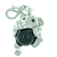 Baby Elephant With Black Stone Clasp Charm