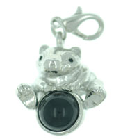 Baby Pig On Black Stone Link Dangle European Beads Fit All Brands