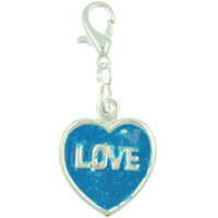 Blue Love Heart Link Dangle European Beads Fit All Brands