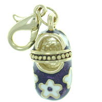 Purple Mary Jane Shoe Link Dangle European Beads Fit All Brands