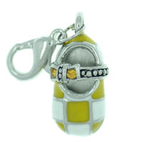 Yellow Checkered Mary Jane Shoe Link Dangle European Beads Fit All Brands