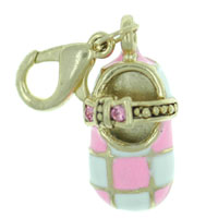 Pink Checkered Mary Jane Shoe Link Dangle European Beads Fit All Brands