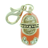 Orange Mary Jane Shoe Link Dangle European Beads Fit All Brands