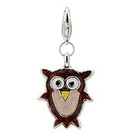Cute Owl Sterling Silver Charm Clasp Charm