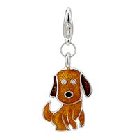 Cute Dog Sterling Silver Clasp Charm