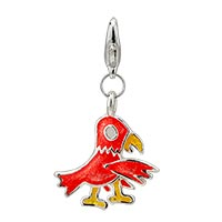 Cute Red Bird Sterling Silver Clasp Charm