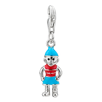 925 Sterling Amore Lavita Blue Hat Boy Lobster Clasp Pendant Dangle European Beads Fit All Brands