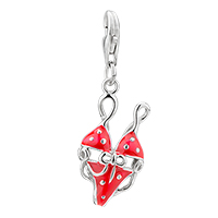 Amore Lavita Red Hot Bikini Sterling Lobster Clasp Pendant Dangle European Beads Fit All Brands