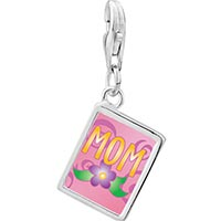 Link Charm Bracelet - 925  sterling silver mom and flowerphoto rectangle frame link charm Image.