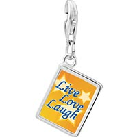 Link Charm Bracelet - 925  sterling silver live love laugh photo rectangle frame link charm Image.