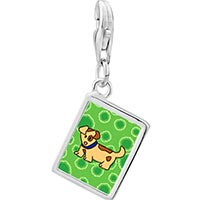 Link Charm Bracelet - 925  sterling silver spotty dog photo rectangle frame link charm Image.