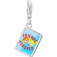 Link Charm Bracelet - 925  sterling silver friends forever photophoto rectangle frame link charm Image.