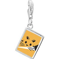 Link Charm Bracelet - 925  sterling silver orange cat painting enamel photo rectangle frame link charm Image.