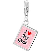 Link Charm Bracelet - 925  sterling silver i heart my girls photo rectangle frame link charm Image.