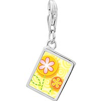 Link Charm Bracelet - 925  sterling silver fun flowers photo rectangle frame link charm Image.