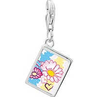 Link Charm Bracelet - 925  sterling silver hearts &  flowers photo rectangle frame link charm Image.
