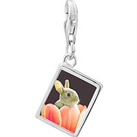 Link Charm Bracelet - 925  sterling silver bunny in tulip photo rectangle frame link charm Image.